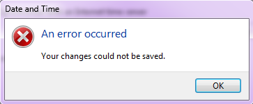 Date and Time: An error occurred: Your changes could not be saved.